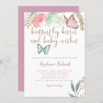 Butterfly Kisses And  Baby Wishes Pink Baby Shower Invitation