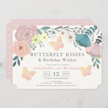 Butterfly Kisses Pink Floral Girl Birthday Invitation