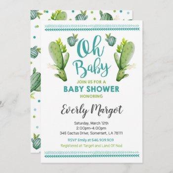 Cactus Baby Shower Invitation Succulent Shower