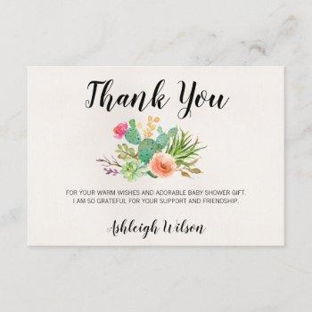 Cactus Floral Baby Shower Thank You Card