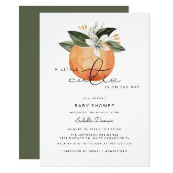 Calliope - A Little Cutie Baby Shower Oranges Invitation