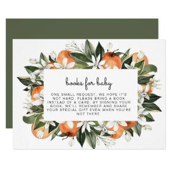 Calliope -watercolor Oranges Books For Baby Insert Invitation