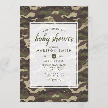 Camouflage Camo Green Baby Boy Shower