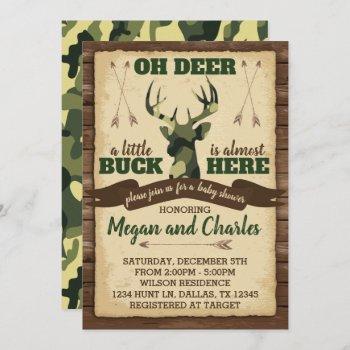 Camouflage Deer Baby Shower Invitation Invite