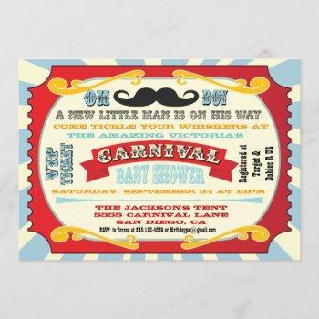 Carnival Mustache Baby Shower Invitation
