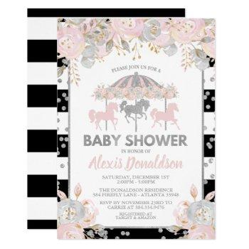 Carousel Baby Shower Invitation Silver Floral