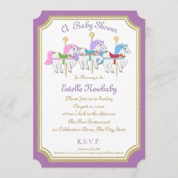 Carousel Horse Purple Baby Shower Invitation