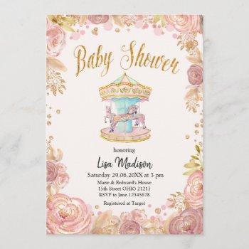 Carousel Pink Glitter Horse Baby Shower
