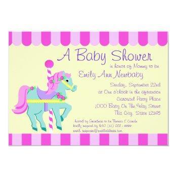 Carousel Pony Baby Shower Invitation