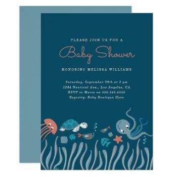 Cartoon Under The Sea Ocean Critters Baby Shower Invitation