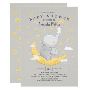 Catch A Star Neutral Bunny Elephant Baby Shower Invitation