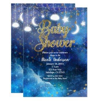 Celestial Fantasy Gold Stars & Glow Baby Shower Invitation