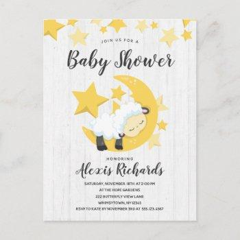 Celestial Moon Stars & Lamb Baby Shower Invitation