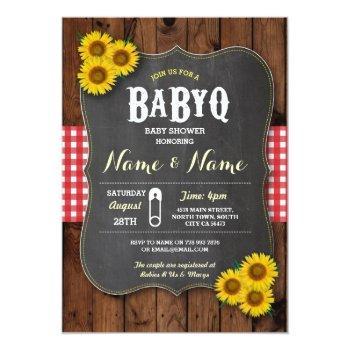 Chalk Babyq Bbq Baby Shower Red Wood Invite