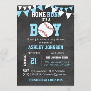 Chalkboard Baseball Baby Shower Invitations - Blue