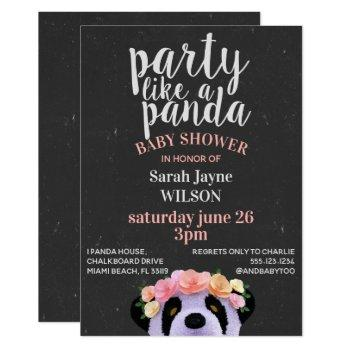 Chalkboard Boho Panda Baby Shower Invitation