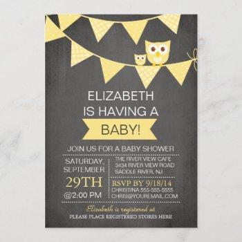 Chalkboard Bunting Owl Gender Neutral Baby Shower Invitation