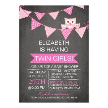 Chalkboard Bunting Owl Twin Girls Baby Shower Invitation