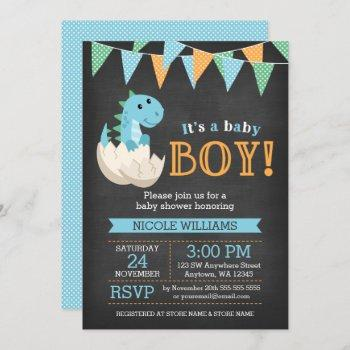 Chalkboard Dinosaur Boy Baby Shower Invitations