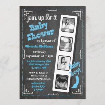 Chalkboard Film Strip Ultrasound Baby Boy Shower Invitation