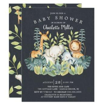 Chalkboard Jungle Animals Neutral Baby Shower Invitation