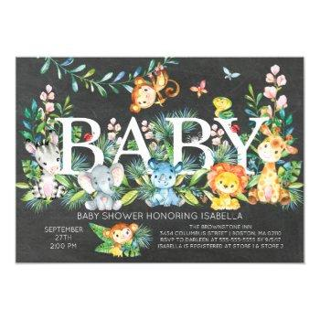 Chalkboard Jungle Neutral Baby Shower Invitation