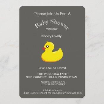 Chalkboard  Look Baby Shower - Yellow Duck Invitation