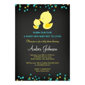 Chalkboard Rubber Duck Baby Shower Invitation