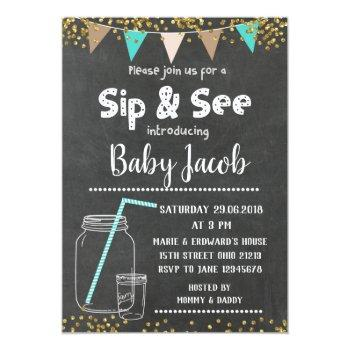 Chalkboard Sip And See Baby Shower Invitation