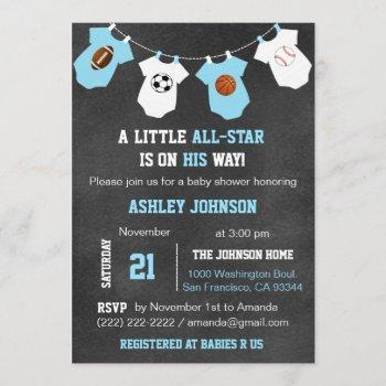 Chalkboard Sports Little All-star Baby Shower Invitation