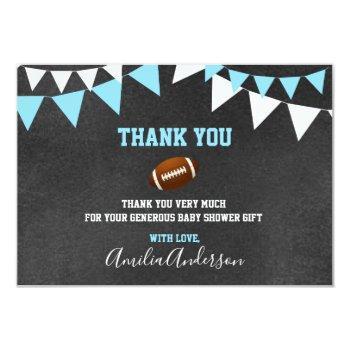 Chalkboard Thank You Blue Football Boy Baby Shower Invitation