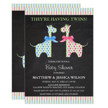 Chalkboard Twin Boy And Girl Giraffe Baby Shower Invitation