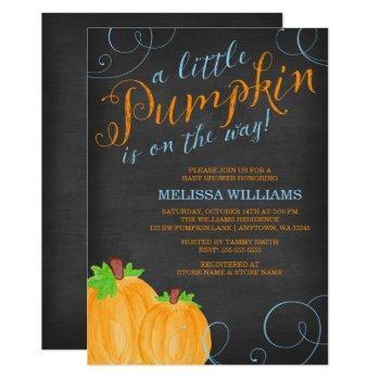 Chalkboard Watercolor Pumpkin Boy Baby Shower Invitation