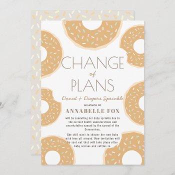 Change Of Plans Caramel Brown Donut Baby Sprinkle Invitation