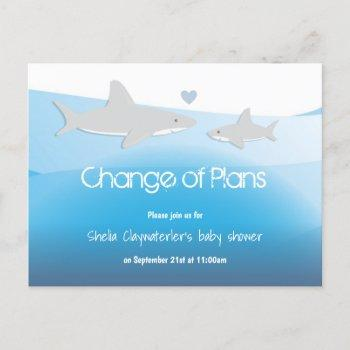 Change Plans Blue Shark Baby Shower Announcement