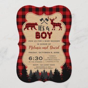 Charm Lumberjack Little Hunter Baby Shower Invitation
