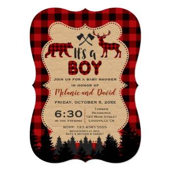 Charm Lumberjack Little Hunter Baby Shower Invitation