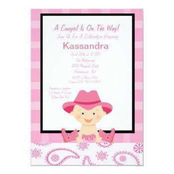 Checkered, Western Cowgirl Baby Shower Invitation