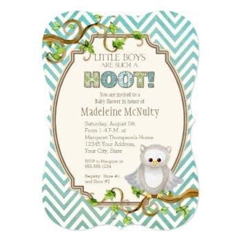 Chevron Striped Hoot Owl Little Boys Baby Shower Invitation