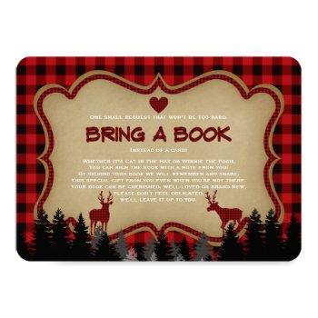 Chic Baby Shower Plaid Lumberjack Bring A Book Invitation