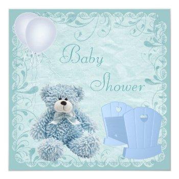 Chic Blue Teddy & Crib Baby Boy Shower Invitation