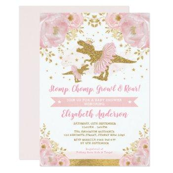 Chic Blush Gold Floral Dinosaur Girl Baby Shower Invitation