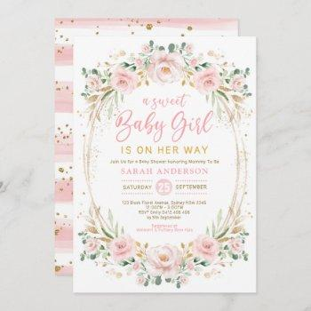 Chic Blush Gold Pink Floral Sweet Baby Girl Shower Invitation