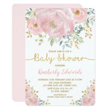 Chic Blush Gold Watercolor Flower Girl Baby Shower Invitation