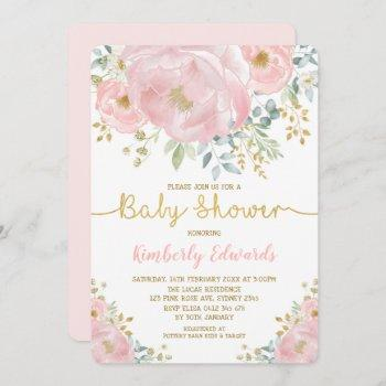 Chic Blush Gold Watercolor Flower Girl Baby Shower