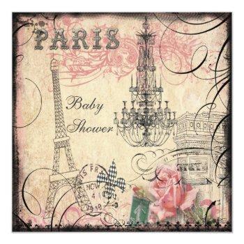 Chic Eiffel Tower & Chandelier Baby Shower Invitation