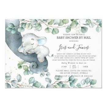 Chic Elephant Greenery Virtual Baby Shower By Mail Invitation