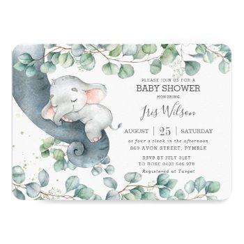 Chic Elephant Leafy Greenery Baby Shower Girl Invitation