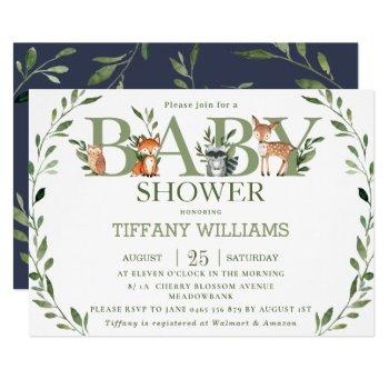 Chic Greenery Rustic Woodland Animals Baby Shower Invitation