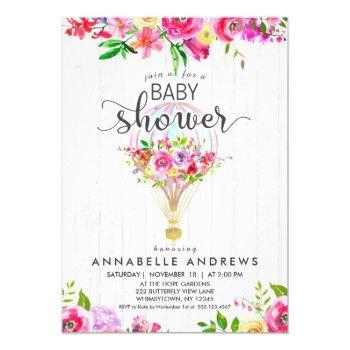 Chic Hot Air Balloon Baby Girl Shower Invitation
